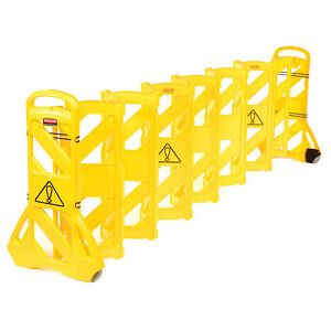 Rubbermaid Fg9s1100yel Extendable Mobile Barrier Lot Of 1