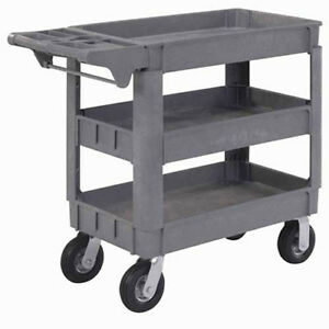 Small Deluxe 3 Shelf Plastic Utility Service Cart 6 Pneumatic Casters 40 l