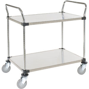 Stainless Steel Utility Cart 2 Shelves 36x24x38 Lot Of 1