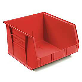 Akro mils Plastic Stacking Bin 16 1 2 w X 18 d X 11 h Red Lot Of 3
