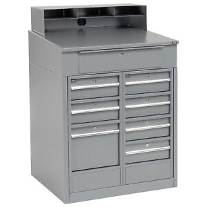 Shop Desk With 8 Drawers 34 1 2 w X 30 d X 51 1 2 h Gray Lot Of 1