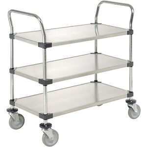Stainless Steel Utility Cart 3 Shelves 36x18x38 Lot Of 1