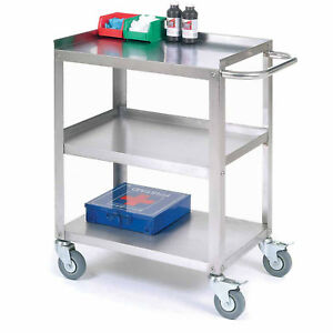 Stainless Steel Utility Cart 400 Lb Cap 24 l X 16 1 4 w X 33 h Lot Of 1
