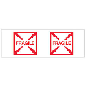 2 x55 Yds Printed Carton Sealing Tape fragile box Red white 6 pack Lot Of
