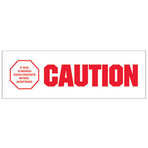 2 x110 Yds Printed Carton Sealing Tape caution If Seal Is Broken Red wht