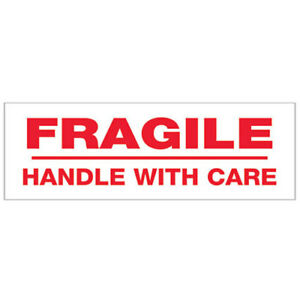 2 x55 Yds Printed Carton Sealing Tape fragile Handle With Care Red white