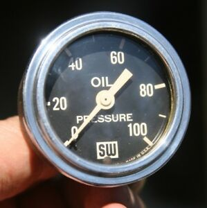 Vintage Stewart Warner Oil Pressure Gauge Curved Glass Large Big Logo Scribed