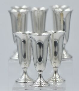 Antique Alvin S247 Sterling Silver Footed Cordial Cup Set Of 8