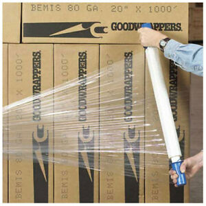Goodwrappers Stretch Wrap 20 X 1000 X 80 Gauge With Dispenser Clear Lot Of