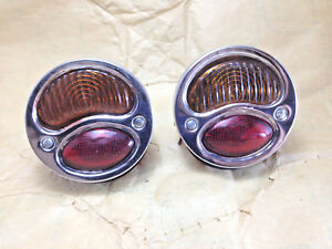 Ford Model A Hot Rat Street Rod Custom Car Truck Stop Lens Tail Lights Nos Pairs