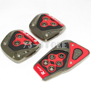 Universal Red Black Manual Brake Gas Clutch Racing Pedal Pads Cover For Cars New