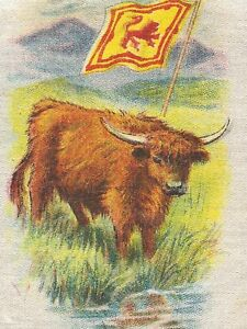 Vintage Tobacco Cigarette Silk Use In Crazy Quilt Flag Animal Cattle Scot
