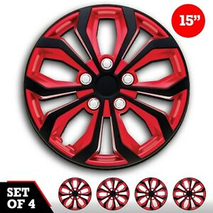 Set Of 4 Hubcaps 15 Wheel Cover Spa Red Black Abs Easy To Install Universal Fit