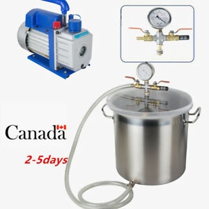 5gallon Stainless Steel Vacuum Degassing Chamber Silicone Kit W 3 Cfm Pump Hot