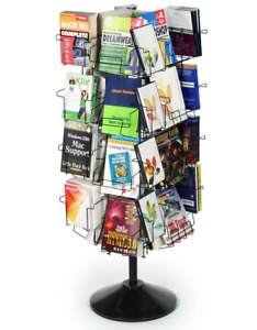 Adjustable Height 32 Pocket Rotating Wire Literature Book Display Stand