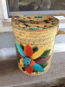 Vtg Covered Basket Mid Century Modern Tiki Witco Lounge Decor Huge Woven