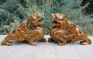 7 Chinese Handwork Stone Jade Foo Dog Lion Kylin Unicorn Fengshui Animal Statue