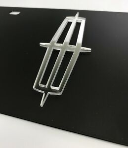 Black Steel License Plate Mirrored Lincoln Emblem Subdued Tactical