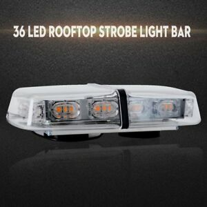 Rooftop Strobe Light Bar 36 Led Flash Emergency Warning Beacon Lamp White