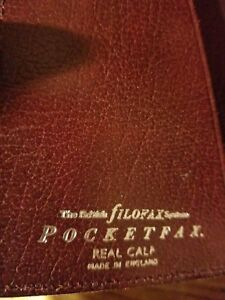 Vintage Filofax Pocketfax Calf Leather Planner Organizer slim made In England