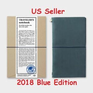 2018 Blue Edition Midori Travelers Notebook Leather Cover Regular Size Us Seller