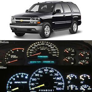 White Led Dash Cluster Instrument Gauge Replacement Light Kit Fits 00 02 Tahoe