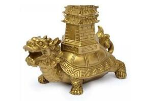 Chinese Bronze Copper Carved Wenchang Pagoda Ride Dragon Turtle Statue St