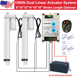 Dual Linear Actuator System Heavy Duty 1500n 12v Motor brackets controller Kit