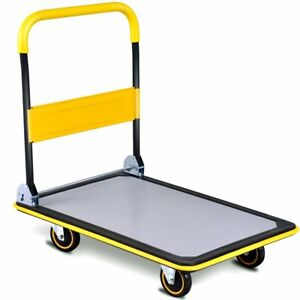 Folding Platform Cart 660lb Rolling Flatbed Cart Hand Platform Truck Push Dolly