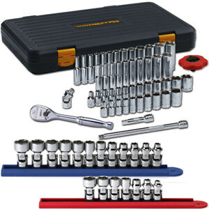 Gearwrench 80300pfs 1 4 Dr 51 Pc Std Deep Sae Metric Socket Set W Flex Sockets