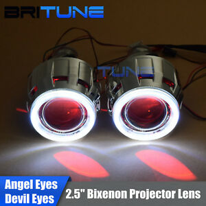 Auto Square Led Angel Devil Eyes Halo Headlight Bi Xenon Projector Lens 2 5 Drl