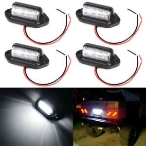4x Universal Led License Plate Tag Lights For Truck Suv Trailer Dome Cargo Lamps