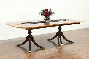 Traditional Georgian Banded Mahogany Dining Table Signed Baker Collector 28741