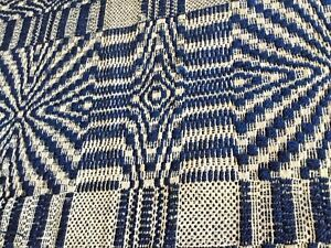 Antique Indigo Blue White Homespun Coverlet In The Geometric Design 1800 S