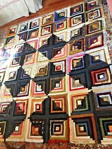 Antique Victorian Log Cabin In Silk Satin Velvet Wool Quilt Top