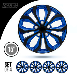 15 Inch Hubcaps Car spa Abs Blue And Black Easy To Install Set Of 4 Pieces