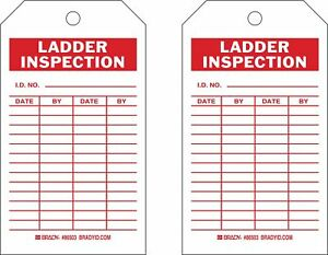 Polyester Ladder Inspection I d No date by Inspection Tag 7 Height 4 Width