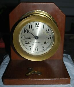 Vintage Seth Thomas Naval Marine Maritime Brass Ships Clock With Key Keeps Time