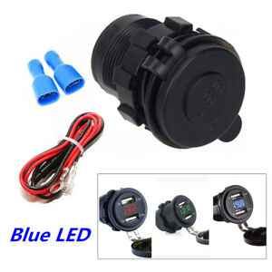 Universal Dual Usb Atv Motorcycle Charger 4 2a Blue Digital Voltage Voltmeter 1x