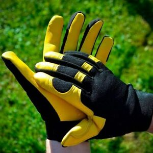 Leather Work Gloves Comfort Fit Stretch Carpenter Builder Plumber Working Gloves