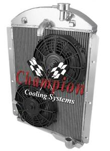 1941 1946 Chevrolet Pickup Champion 3 Row Radiator With Dual 10in Fans
