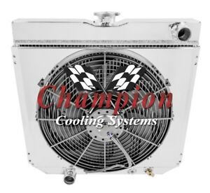 1963 1969 Ford Fairlane Champion 4 Row Radiator With A 16in Fan And Shroud