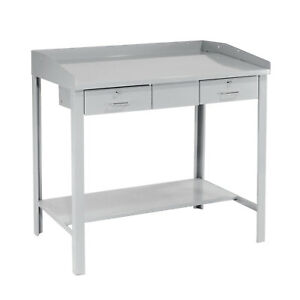 Extra wide Shop Desk 48 w X 30 d X 43 h Gray Lot Of 1