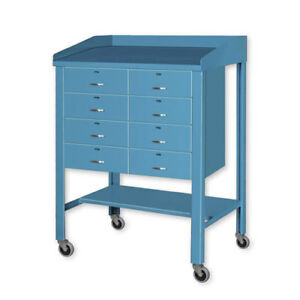 Open Steel Shop Desk With Eight Drawers 36 w X 30 d X 43 h Blue Lot Of 1