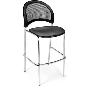 Moon Cafe Height Stack Chair Chrome Base Slate Gray Lot Of 2