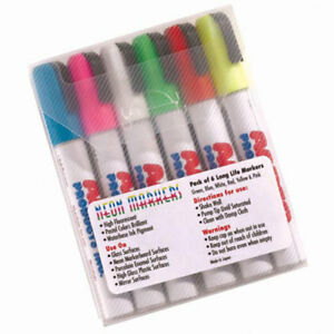 Aarco Dry Erase Neon Markers 6 Pack Lot Of 1