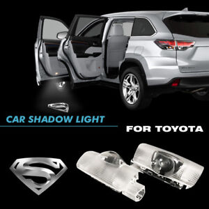 Silver Superman Car Door Led Welcome Projector Ghost Shadow Light Fit For Toyota