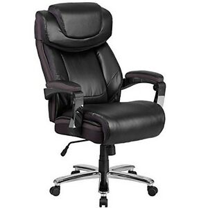 500 Lb Capacity Big Tall Black Leather Executive Swivel Office Chair New