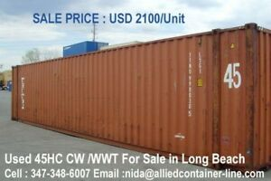 Container Long Beach 20 Ft 1650 cw Unit 40ft 1850 cw 40 Hc 1900 unit 45ft 2100