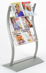 Curved 3 tier 30 X 47 Literature Brochure Stand 3 Adjustable Pockets W Dividers